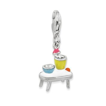 Sterling Silver Enameled Table And Bowls W/lobster Clasp Charm