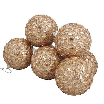 "6 Christmas Ball Ornaments - 3.75 ""  - Champagne"
