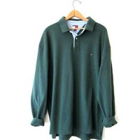 Vintage 1990s Tommy Hilfiger Dark Green Long Sleeve Polo Shirt Sz XXL