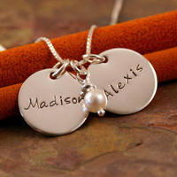Hand Stamped Mommy Necklace - Personalized Sterling Silver Jewelry - Flat Name Across Tag Duet