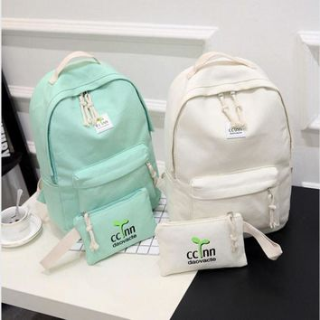 2017 Solid Color Women Backpack High Quality Cute Canvas Backpack Female School Bags For Teenagers Mochila Escolar