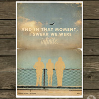 The Perks of Being a Wallflower Poster - Vintage Style Magazine Print movie quotes Cinema Studio Watercolor Background - Pick your Size