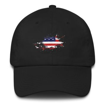 United States Splatter of paint Flat Embroidery 2018 Cotton Cap
