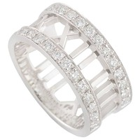 Tiffany & Co. White Gold Diamond Atlas Ring