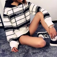 Supreme 16FW Striped Hooded Crewneck  Top Pullover Sweater Sweatshirt Hoodie
