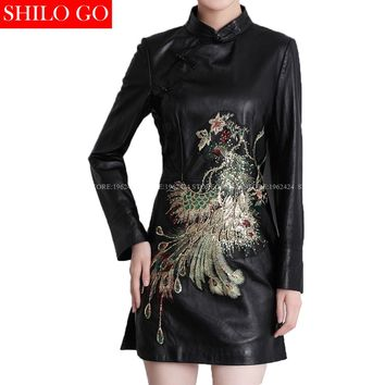 Fashion women high quality Sheep skin Mandarin collar vintage luxury Sequins beading Phoenix genuine leather sexy pencil dress