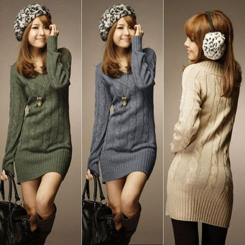 NEW WOMENS LONG SLEEVE WARM WINTER KNIT SLIM PLUS SIZE TUNIC SWTER DRESS  F_F