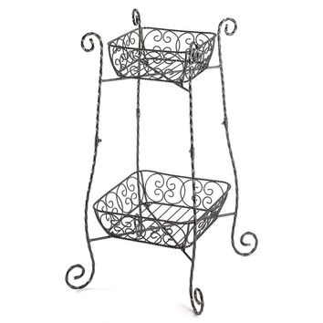 Flower Plant Stand-Wrought Iron 2 Tier Fruit Baskets