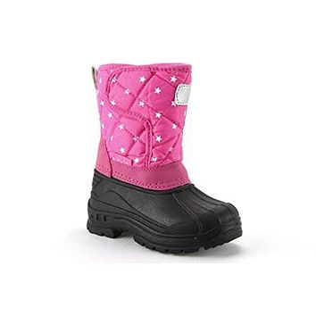 Girls BHD-03I Toddlers Quilted Star Print Fur Lined Winter Snow Boots