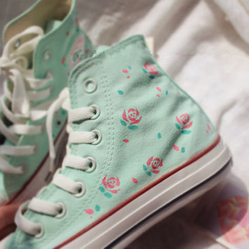 Hand-painted shoes, Converse,Light green background plus pink flowers ,Lovely Floral