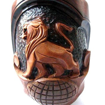 "Hand Carved Smoking Pipe. Tobacco Pipes - Wooden Pipes - Hand Carved Tobacco Wood Pipes ""Lion Globe"" & GIFT Pouch /BEST PRICE"