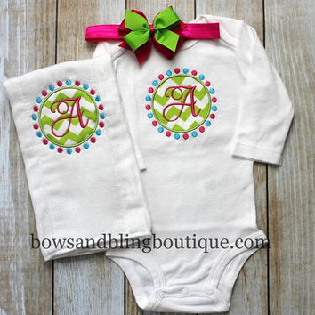Monogram Baby Newborn Tutu Outfit Bodysuit, Burp Cloth, Tutu