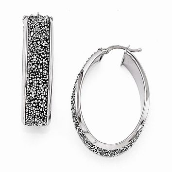 10 x 38mm Oval Hoop Earrings in Silver with Swarovski Crystals