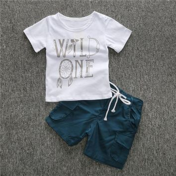 Alphabet Simple Style T-Shirt + Short Set For Kids
