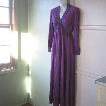 Grape Purple Cabaret/Boudoir/Burlesque Dressing Gown - Large, Empire Waist Purple Robe; Dusty Purple Lace Embellished - Mae West/Von Teese