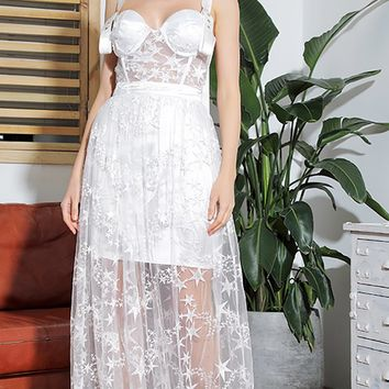 Best Dressed White Sheer Mesh Lace Star Pattern Sleeveless Buckle Straps Sweetheart Neckline A Line Maxi Dress