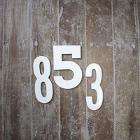 White Ceramic wall hanging home decor, house number, Made to order custom number