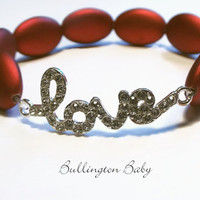 Love Bracelet, Stretch Bracelet, Beaded Bracelet, Red Bracelet