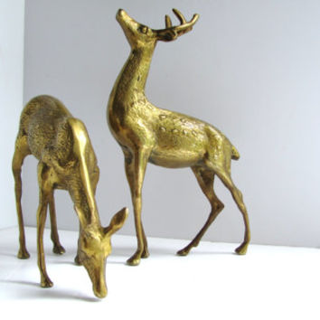vintage brass stag deer home decor large statue pair