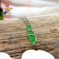 Sea Glass Necklace - Hawaiian jewelry, dainty wire wrapped green beach glass pendant by Mermaid Tears Hawaii