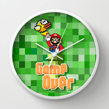 Flappy Bird vs Mario Brothers 8 bit Punch Decorative Circle Wall Clock Watch by Three Second