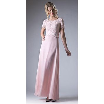 Blush Lace Bodice Short Sleeves A-line Long Bridesmaids Dress