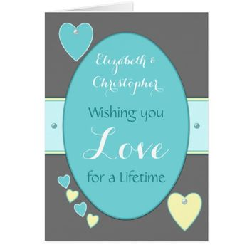 Gray and Turquoise Wedding Day Greeting Card
