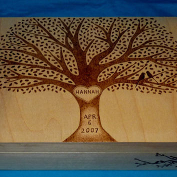 Decorative Wooden Baby Keepsake Box Wood Burned Box Suitcase Personalized Large Memory Box Tree Of Life Love Birds Gift Baby Girl Nursery