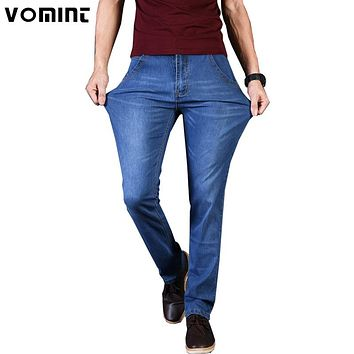 New Men Jeans Denim Pants Thin Slim Regular Fit Straight Jeans Elasticity Stretchy Cotton