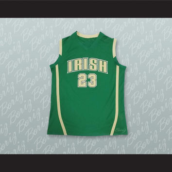 Lebron James Fighting Irish High School Green Basketball Jersey Stitch Sewn