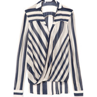 Sheer Stripe Drape Front Blouse by 10 Crosby Derek Lam Now Available on Moda Operandi