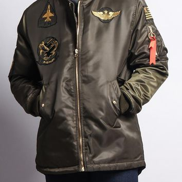 Patched Long Length MA-1 Bomber Jacket JK757 - E17C