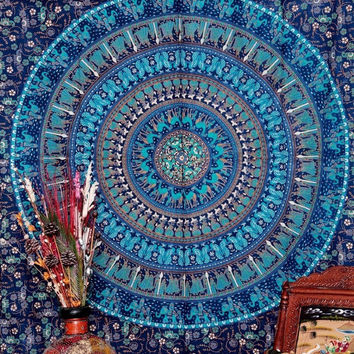 Peacock Camel Elephant Mandala Tapestry Wall Hanging Moroccan Indian Printed Decorative Wall Elephant Tapestries 210x148cm