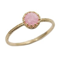 Gold ring. Gem ring. cz ring, pink ring, romantic ring, stackable ring, stacking ring, gold jewelry, gift for her