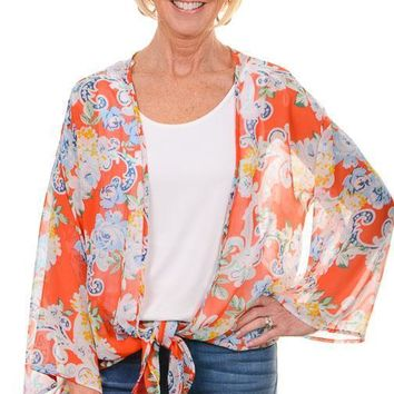 Coral Floral Bell Sleeve Kimono