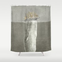 Revenge of The Whale Shower Curtain by Terry Fan