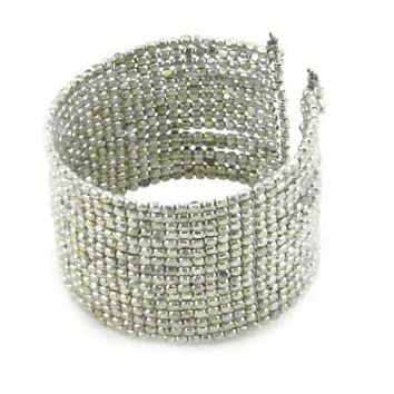 Cubist Beaded Cuff - Silver