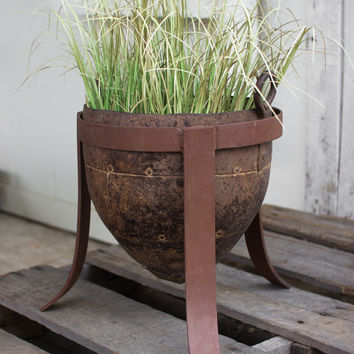 Antique Iron Pot With Forged Iron Base
