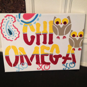 Chi Omega Greek Sorority Canvas hand-painted canvas, sign