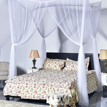 White 4-Post Bed Princess Canopy Mosquito Net for Full/Queen Beds