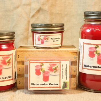Watermelon Cooler Candles and Wax Melts, Beverage Scent Candle, Highly Scented Candles and Wax Tarts, Summertime Scent Candle, Hostess Gift