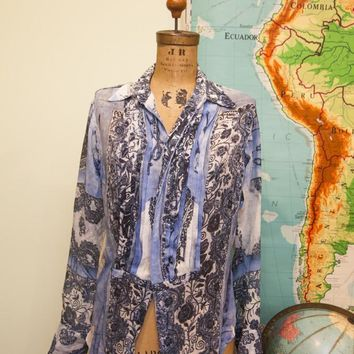 Vintage Gaultier Designer Button Down Silk Blouse