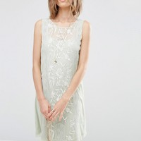 ASOS PREMIUM Sleeveless Dress with Embroidery at asos.com