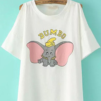 JUMBO Animal Printed White Off The Shoulder Shirt