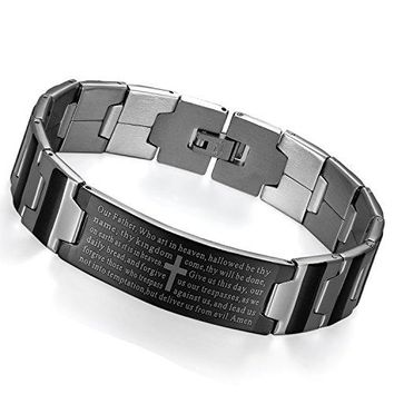 Flongo Men's Vintage Stainless Steel Silver Cross English Bible Lords Prayer Black Silver Link Wrist Bracelet, 7.9 inch