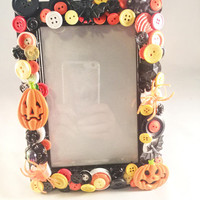 Halloween Frame, Hand Designed, Vintage Buttons, Vintage Jewelry, Assemblage, OOAK Gift Giving