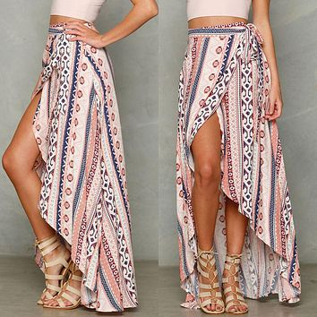 HIRIGIN Vintage floral print long skirts women Summer elegant beach maxi skirt Boho high waist asymmetrical skirt