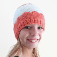 Knit Child Hat - Orange and White Knit Beanie - Winter Hat