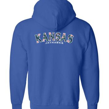Official NCAA University of Kansas Fighting Jayhawks KU ROCK CHALK! Flower Pattern Basic Zip Hoodie - 35KU1
