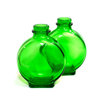Green Glass Bottles (2) by Owens-Illinois, 1942 - Upcycle or Repurpose Vase, Decorative Collectible Color Pop - Vintage Home Decor
